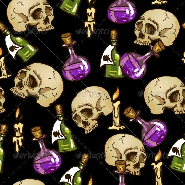 Doodle Seamless Pattern with Flasks and Skulls - Patterns Decorative