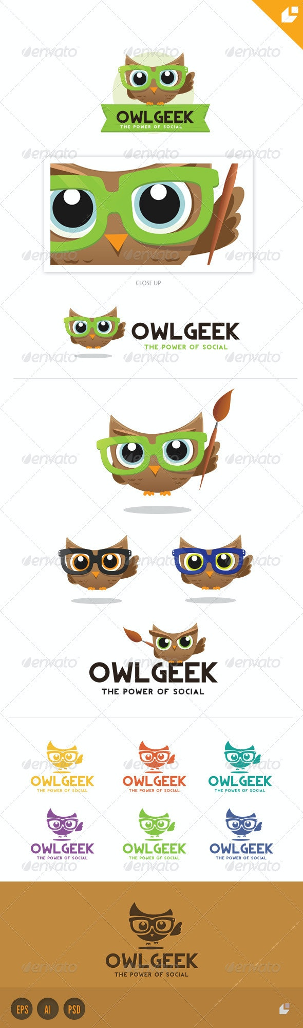 Owl Geek Logo - Crests Logo Templates