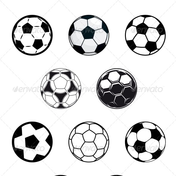 Set of Soccer or Football Balls