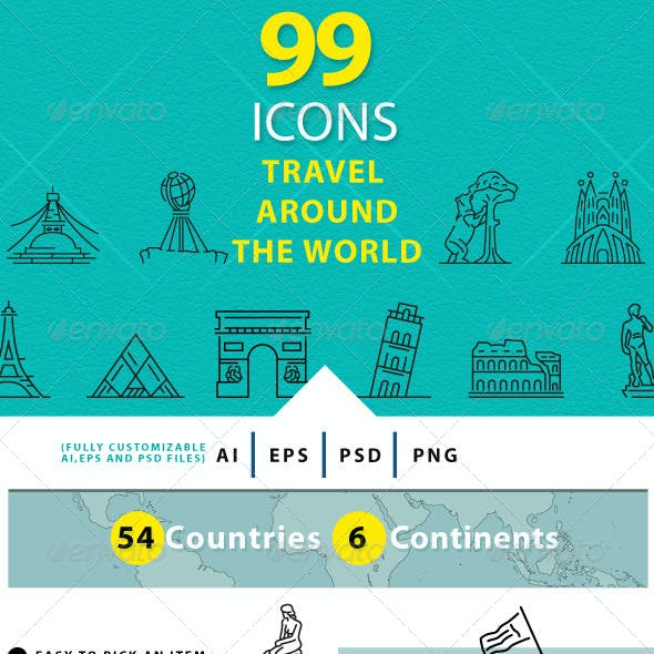 Travel Around The World Line Icons
