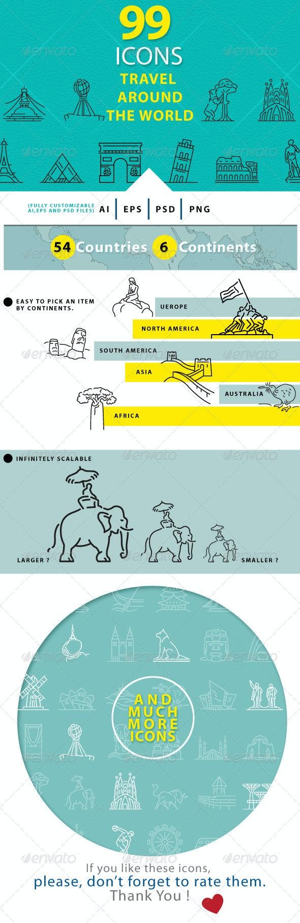 Travel Around The World Line Icons - Seasonal Icons