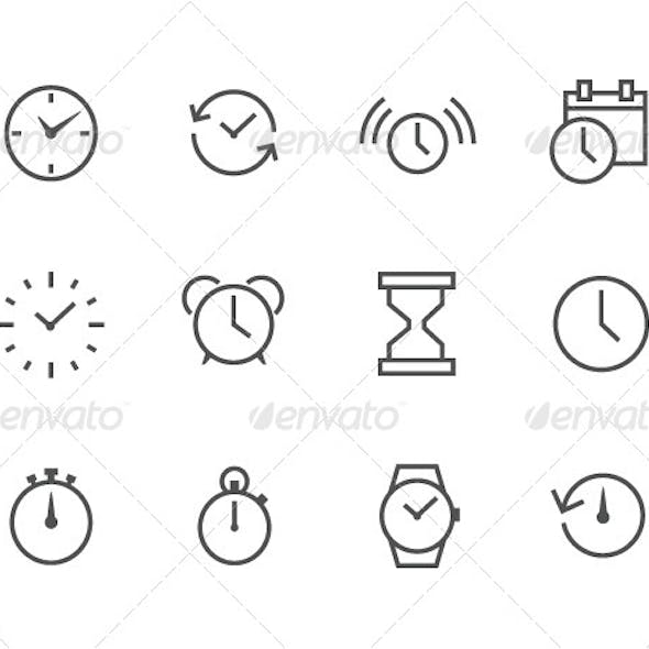 Outline Time Icons