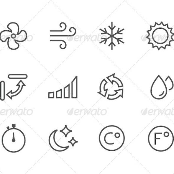 Outline Air Conditioning Icons