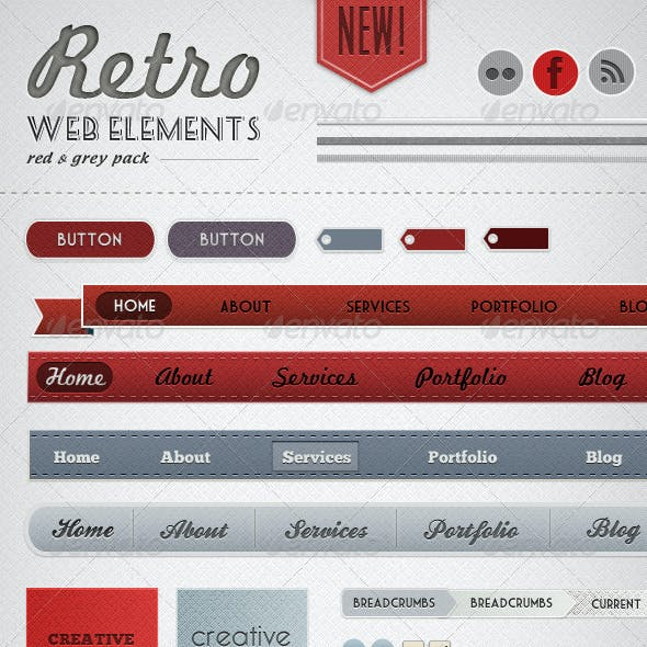 Retro Web Elements - Red & Grey Pack