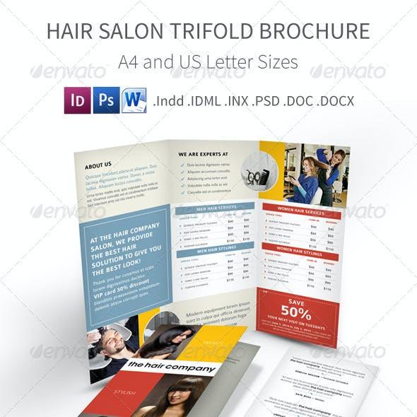 Hair and Beauty Salon Trifold Brochure