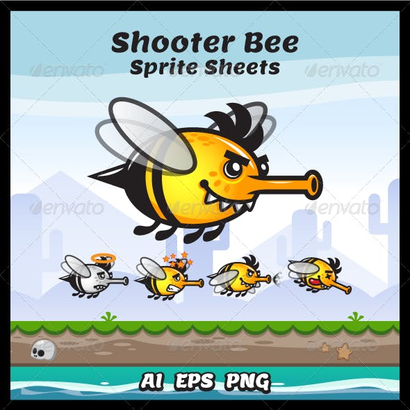 Game Character - Shooter Bee Sprite Sheets