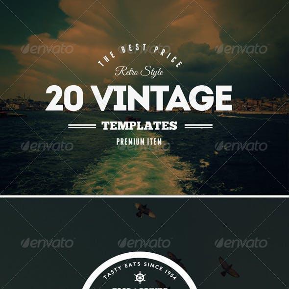 20 Vintage Labels & Badges / Logos / Insignias