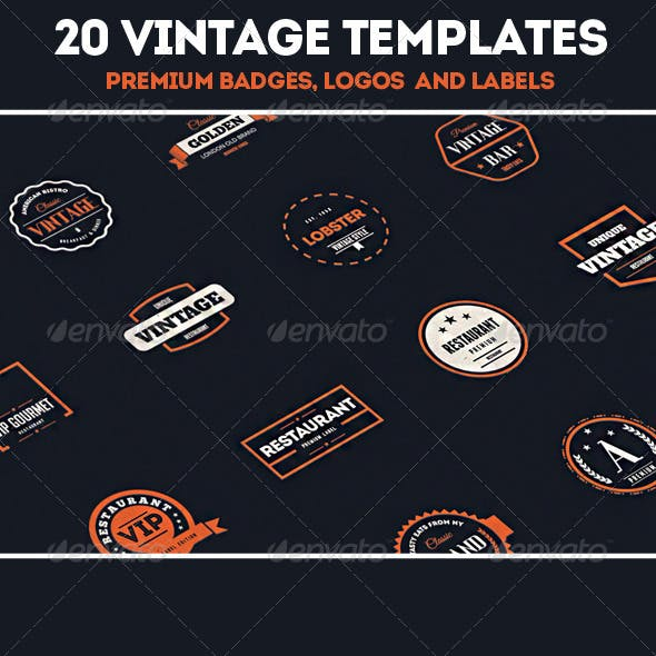 20 Vintage Labels & Badges / Logos / Insignias