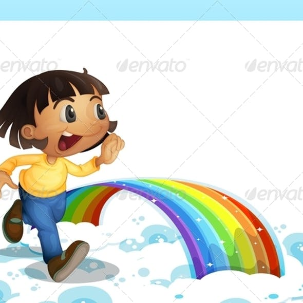 Young Girl Running with a Rainbow