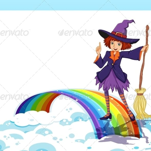 Empty Template with a Witch and a Rainbow