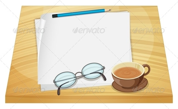 Empty Sheets of Paper on a Wooden Table - Objects Vectors