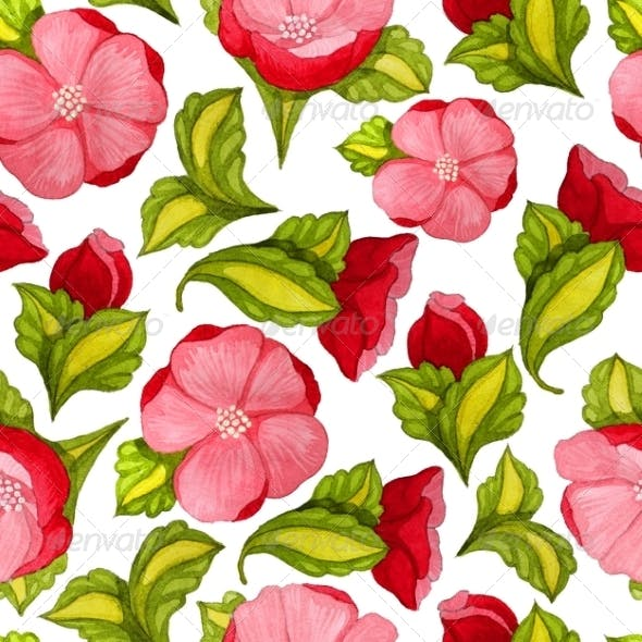 Watercolor Seamless Pattern with Pink Peony