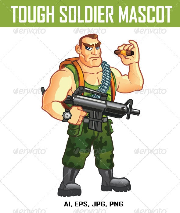 Tough Soldier Mascot - People Characters