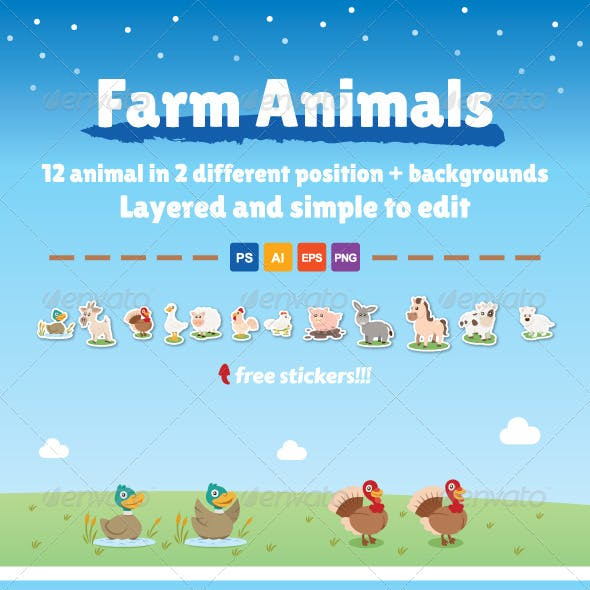 12 Farm Animals in 2 Different Position
