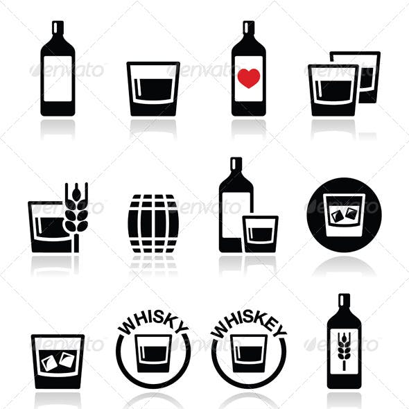 Whisky or Whiskey Alcohol Icons Set