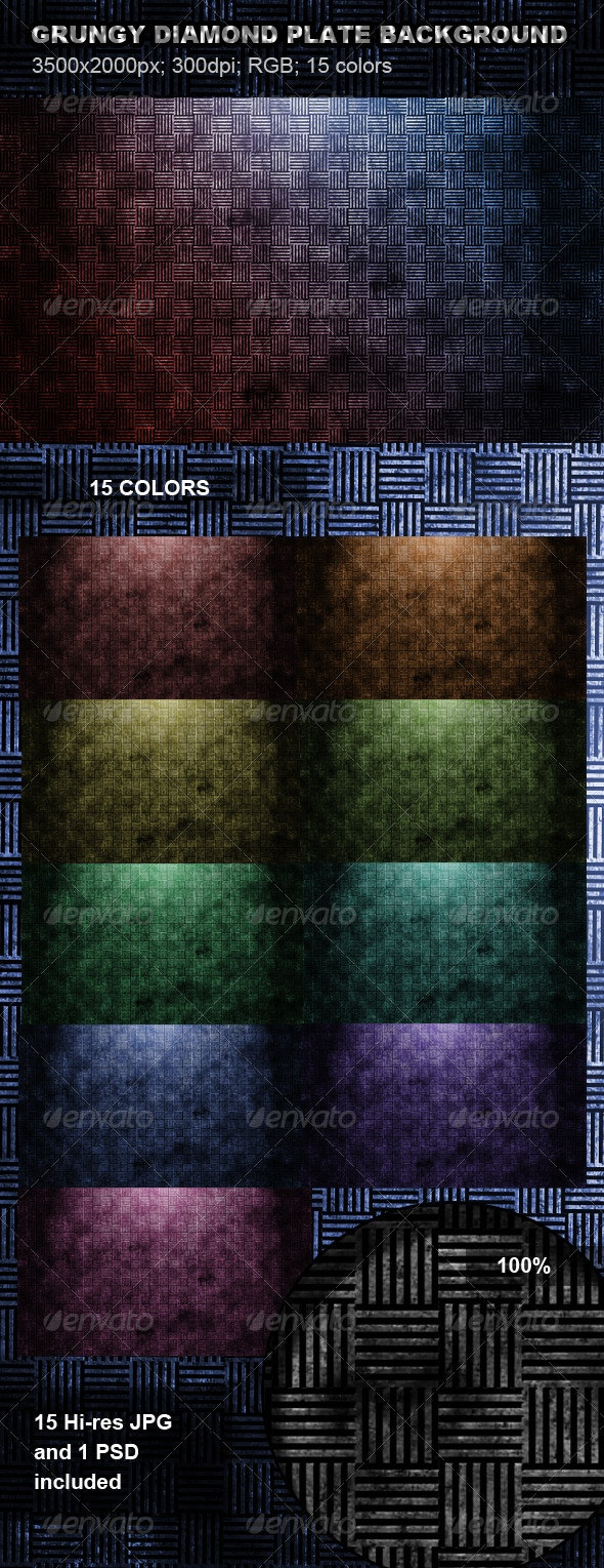 Grungy Diamond Plate Background - Patterns Backgrounds