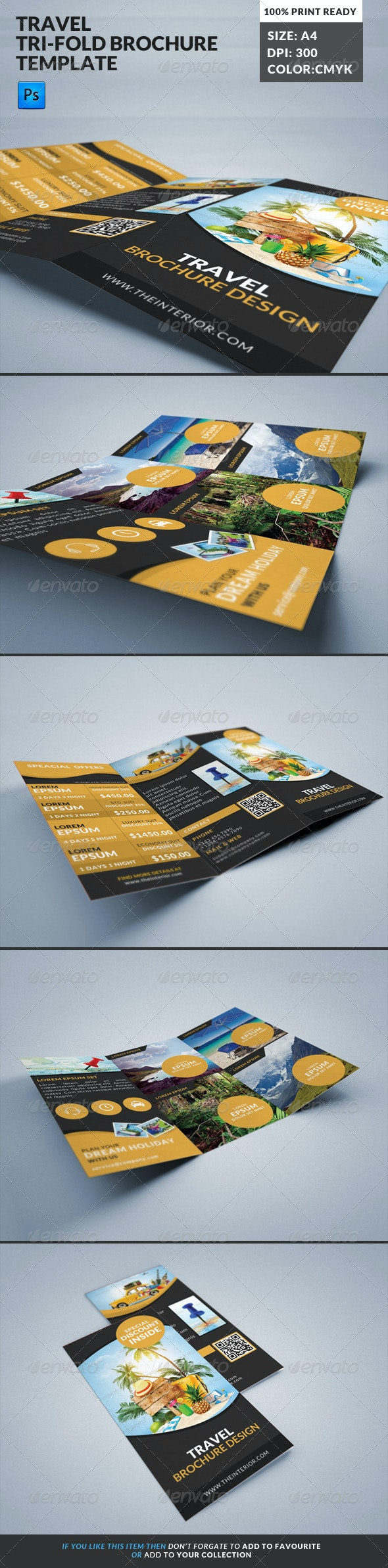 Travel Tourism Tri-Fold Brochure - Corporate Brochures