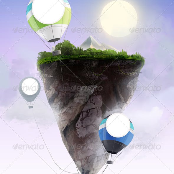 Flying rock with ballons