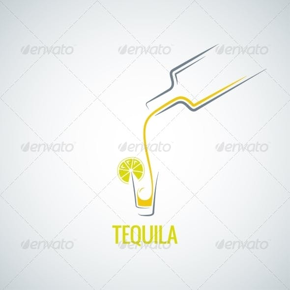 Tequila Bottle & Glass Background