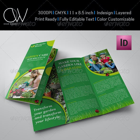 Garden Services Tri-Fold Brochure Template