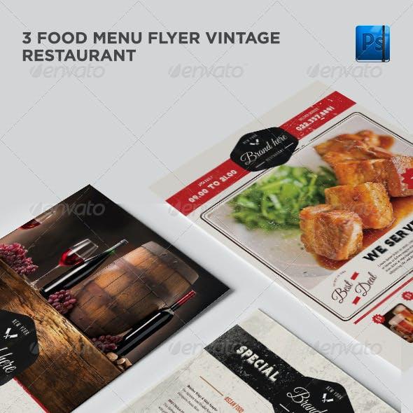 3 Vintage Flyer Food Menu