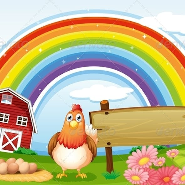 Hen at the Farm with a Rainbow and Sign