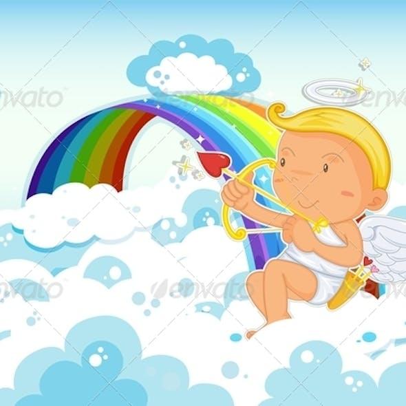Cupid beside Rainbow