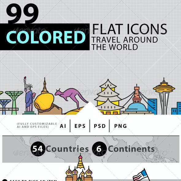 Travel Around The World Colored Icons