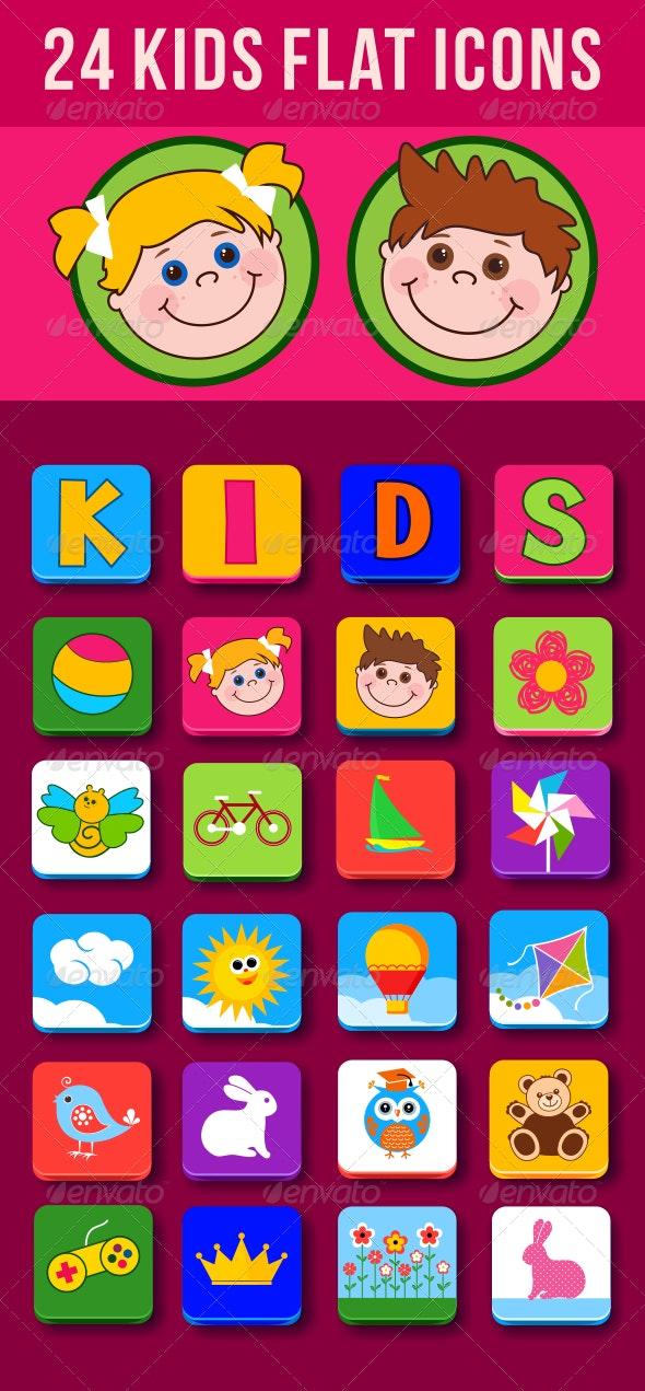 24 Kids Flat Icons
