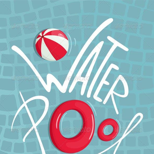 Water Pool with Inflatables Lettering Poster