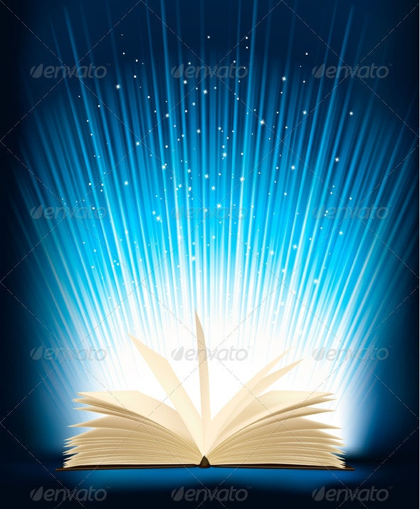 Opened Magic Book With Magic Light - Backgrounds Business