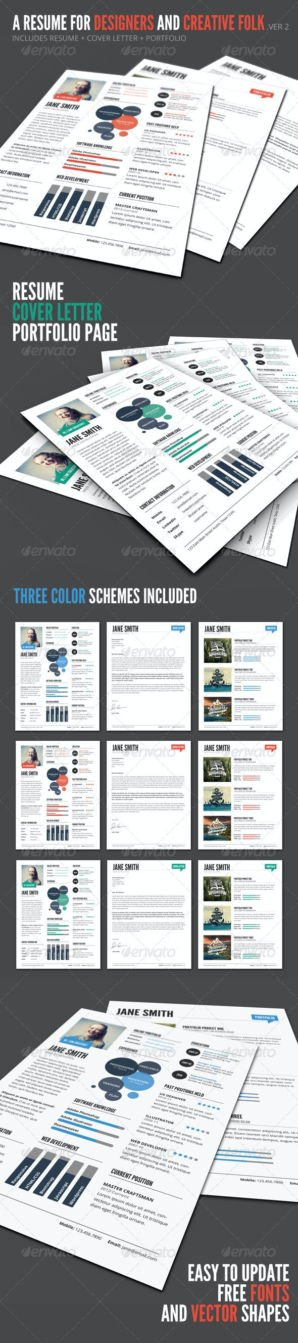 InfoGraphic Style Resume Template - Ver 2 - Resumes Stationery