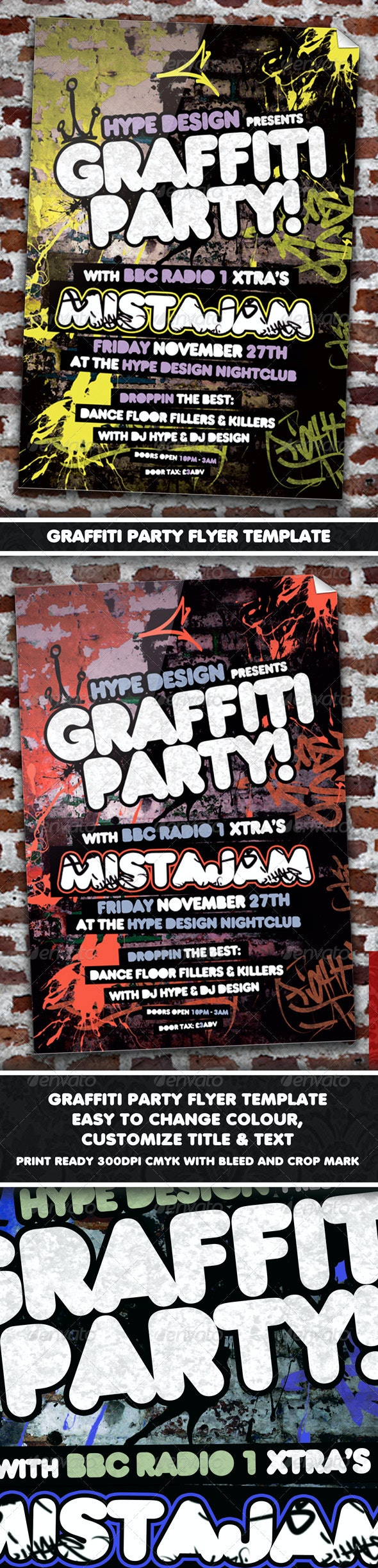 Graffiti Party Flyer Template - Clubs & Parties Events
