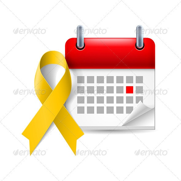 Awareness Ribbon and Calendar - Decorative Symbols Decorative