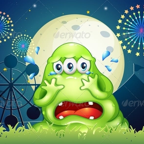 A Three-Eyed Monster Crying at the Carnival
