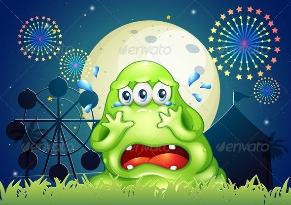 A Three-Eyed Monster Crying at the Carnival - Monsters Characters