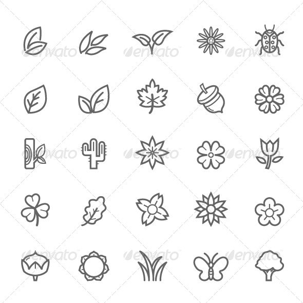 25 Outline Stroke Natural Icons - Objects Icons