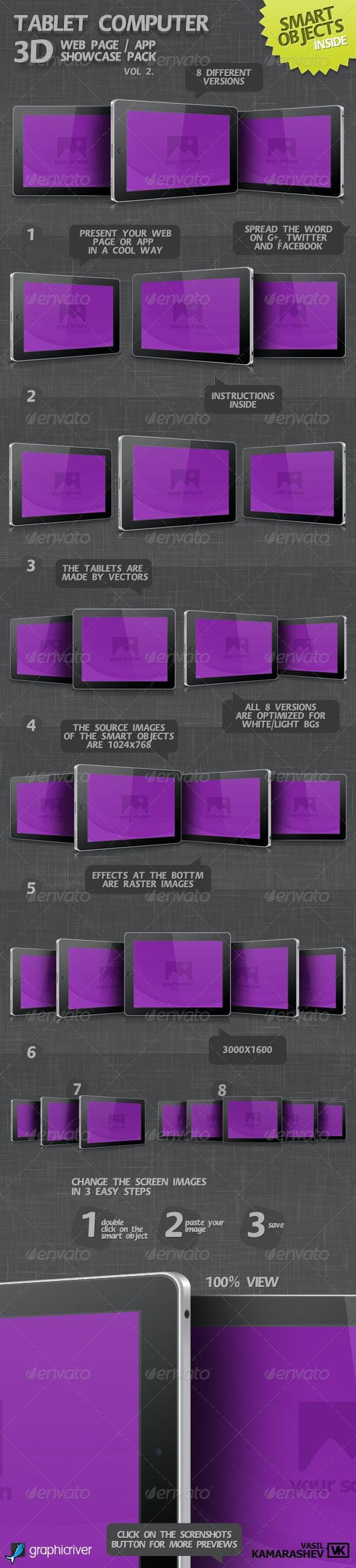 Tablet Computer 3D Web Page / App Showcase Vol.2 - Mobile Displays