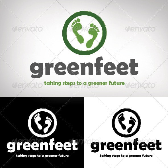 Green Feet Logo Design - Nature Logo Templates