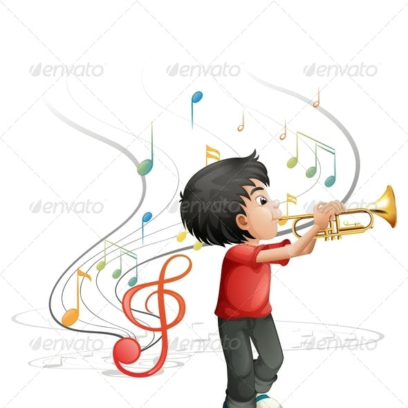 Talented Young Boy Playing the Trumpet