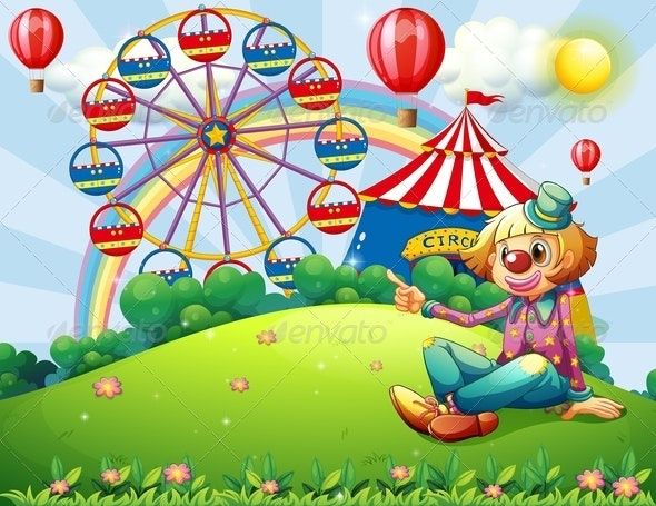 A Clown at the Hilltop with a Carnival and a Rainbow - People Characters