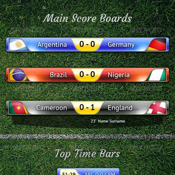Score Bar PSD and other Football TV Elements