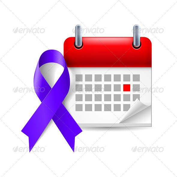 Indigo Awareness Ribbon and Calendar