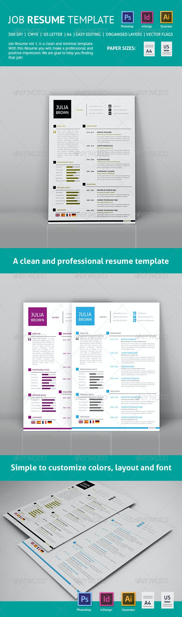 Clean Job Resume - Resumes Stationery