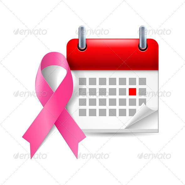 Pink Awareness Ribbon and Calendar