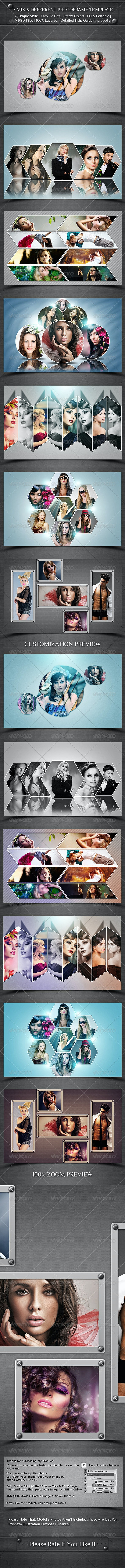 7 Mix And Different Photo Frame Template  - Photo Templates Graphics