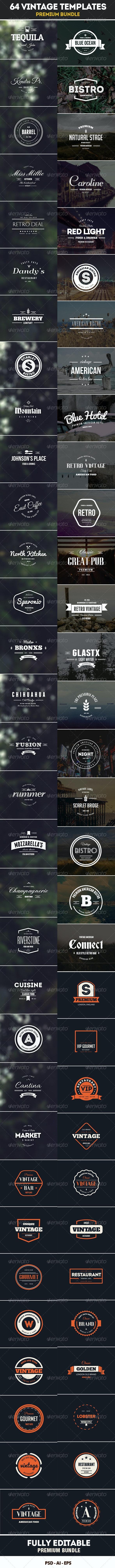 64 Vintage Labels & Badges Logos Bundle - Badges & Stickers Web Elements