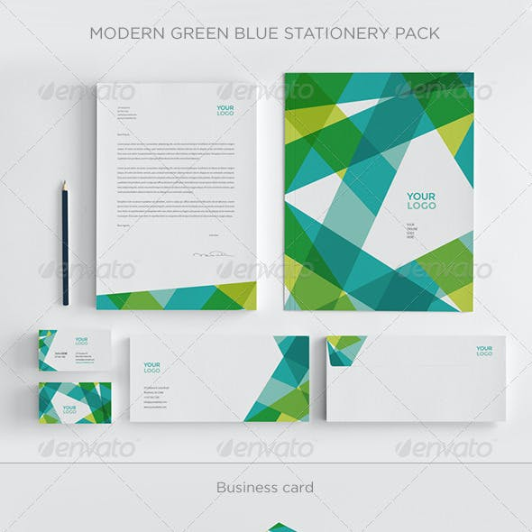 Modern Green Blue Stationery