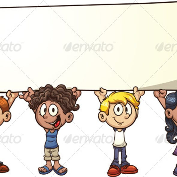 Kids Holding Sign