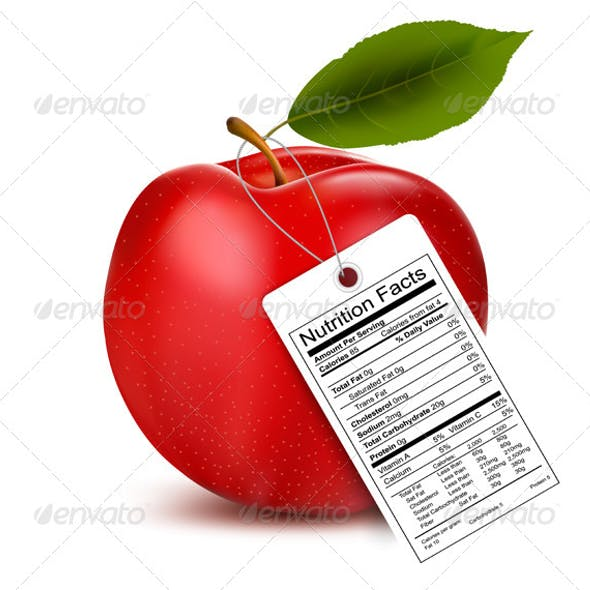 An Apple with a Nutrition Facts Label